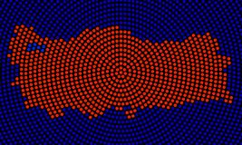 辐形小点抽象土耳其地图  库存例证