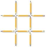 逻辑难题 移动三支铅笔做三个正方形 免版税库存照片