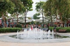 输入在圣淘沙,新加坡的环球影业 免版税库存照片