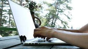 输入在膝上型计算机的妇女户外夏天特写镜头 远程办公、通信在互联网上或教育天生 股票录像