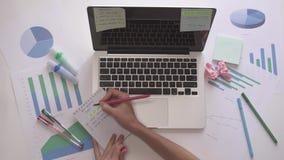 输入在计算机和被投入的壁虱上的妇女做在笔记本的名单 股票视频