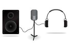 输入声音的话筒 报告人为送声音到许多人民 耳机为送声音到个人 图库摄影
