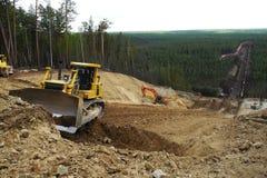 输油管建造场所  库存图片