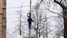 输电线人修理在城市在冬天 在一架梯子的立场与一根导线在他的手上,后面视图 股票视频