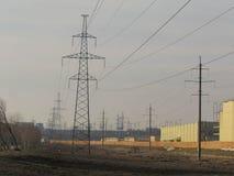 输电线在莫斯科 库存图片