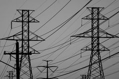 输电线在黑白的得克萨斯 免版税库存图片