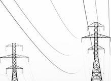 输电线摘要在黑白的 库存照片