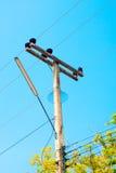 输电线柱子塔 免版税库存照片