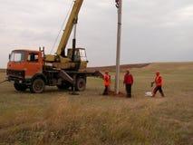 输电线的设施 库存照片