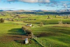 辗压农田在北英国 库存照片