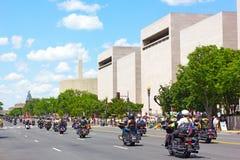 辗压雷美国人POWs和MIA战士的摩托车集会 免版税库存图片