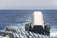 辗压飞机机架在轻武装快舰的导弹系统 免版税库存照片