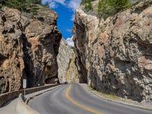 辛克莱峡谷在库特尼国家公园 库存照片