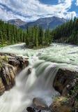 辛华达瀑布在贾斯珀国家公园 免版税库存照片