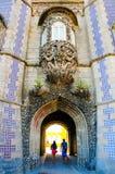 辛特拉全国宫殿Trinton窗口和被成拱形的隧道,葡萄牙历史,旅行里斯本 库存照片