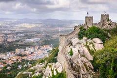 辛特拉摩尔人城堡  免版税库存照片