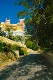 辛特拉贝纳全国宫殿、森林和黄色被成拱形的画廊 库存图片