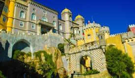 辛特拉贝纳全国宫殿门面和大门门,旅行里斯本,葡萄牙 库存照片