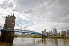 辛辛那提,俄亥俄:约翰A. Roebling吊桥 免版税图库摄影