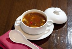 辣中国热的汤汤用什塔克菇 免版税库存图片