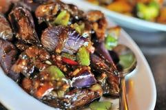 辣中国烹调的茄子 免版税库存图片