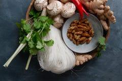 辣亚洲食物的成份与油煎的昆虫 免版税图库摄影