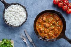 辣传统马都拉斯黄油的牛肉减慢厨师羊羔食物用米和蕃茄 免版税库存图片