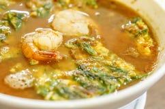 辣和汤咖喱用菜煎蛋卷 图库摄影