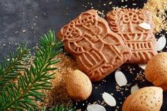 辣嘎吱咬嚼的speculoos圣诞节饼干 库存图片