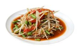 辣在白色隔绝的番木瓜沙拉索马里兰胃泰国传统食物 免版税图库摄影