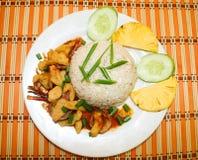 辣干油煎的鱼用白米 免版税图库摄影