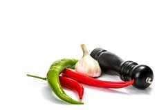 辣椒、大蒜和papperbox在白色背景 库存照片