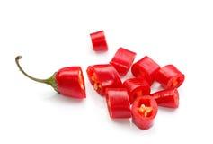 辣椒切好的红色 库存照片