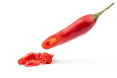 辣椒切好的红色 库存图片