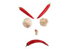 从辣椒和大蒜的面孔在白色背景 免版税库存照片