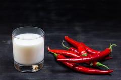 辣椒和牛奶在黑背景 图库摄影