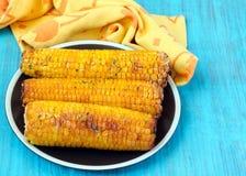 辣椒和蜂蜜涂奶油的玉米棒子 库存图片