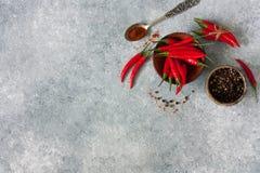 辣椒和被分类的干胡椒 免版税图库摄影