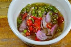 辣椒和青葱在杯子的鱼子酱 图库摄影