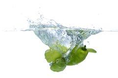 辣椒新鲜的绿色辣椒粉飞溅水 免版税图库摄影
