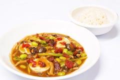 辣椒油煎的韩文调味汁混乱豆腐 库存图片