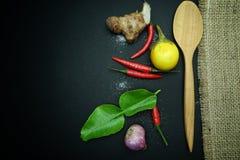 辣椒用姜用茄子用与非洲黑人石灰的泰国葱生叶与在黑背景的木匙子与麻袋布 免版税库存图片