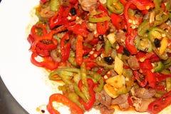 辣椒的果实油煎的羊肉featrue 免版税库存图片