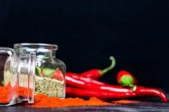 辣椒粉、干燥蓬蒿和辣椒在黑桌上 图库摄影