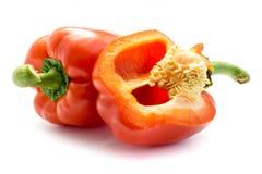 辣椒粉在红色的甜椒隔绝了白色背景 库存图片