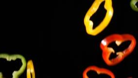 辣椒粉落的五颜六色的裁减,慢动作 股票视频