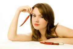 辣椒红色性感的妇女 免版税库存照片