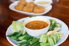 辣椒虾泰国样式开胃菜,可口泰国食物服务了o 免版税库存图片