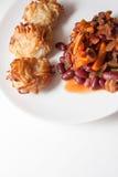 辣椒豆和土豆薄烤饼 免版税图库摄影