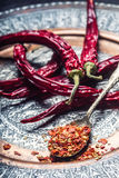 辣椒 辣椒 几干辣椒和被击碎的胡椒在一把老匙子溢出了  墨西哥的成份 库存照片